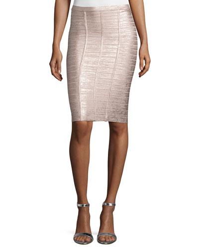 Metallic Bandage Pencil Skirt, Rose Gold