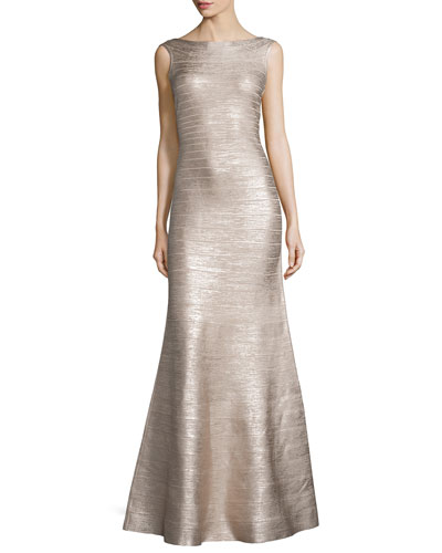 Sleeveless Metallic Bandage Gown, Rose Gold