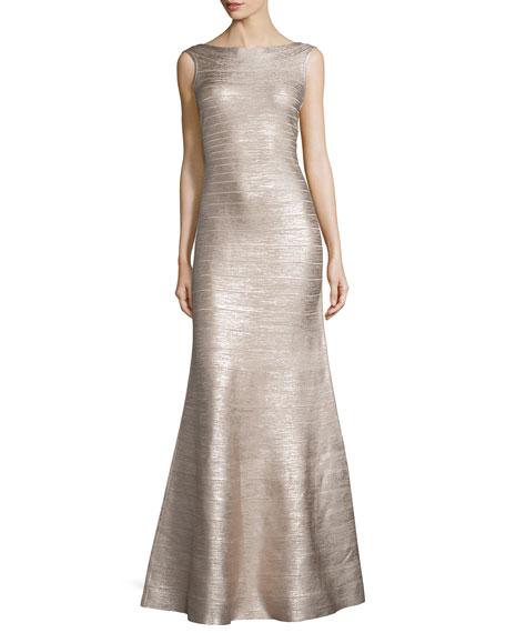 Sleeveless Metallic Bandage Gown, Rose Gold