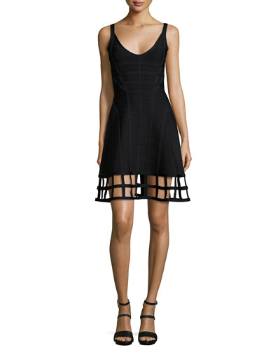 Sleeveless Bandage Dress W/Cage Hem, Black