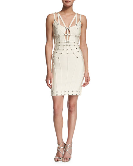 Herve Leger Double-Strap V-Neck Bandage Dress, Off White
