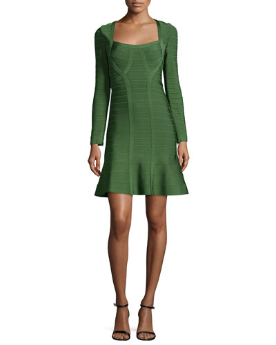 Long-Sleeve Flounce Bandage Dress, Forest Green