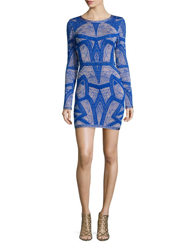 Long-Sleeve Short Jacquard Dress