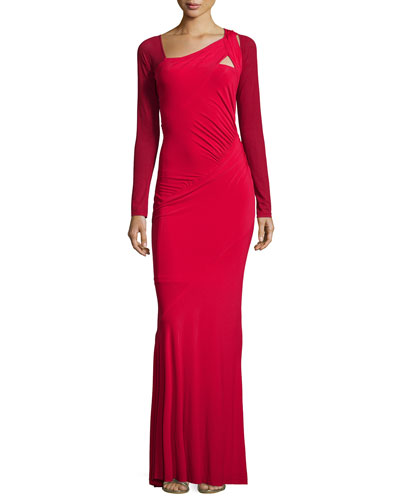 Long-Sleeve Two-Tone Gown, Scarlet