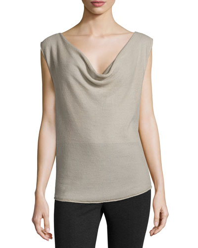 Drape-Front Top, Putty