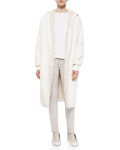 Reversible Faux-Fur-Lined Long Coat