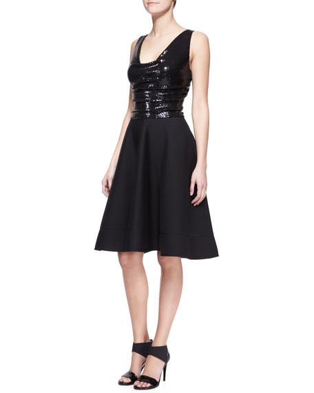 Donna KaranSEQ CKTL DRESS W JRSY SKIRT