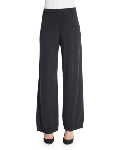 Silk-Cashmere Wide-Leg Pants, Charcoal, Women's