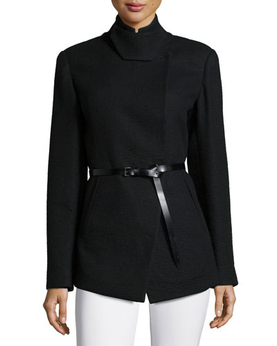 Tailored Pea Jacket W/Belt, Black