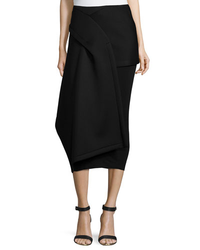 Draped Double-Layer Midi Skirt, Black