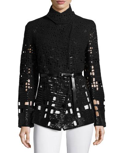 Embellished Pea Jacket W/Belt, Black