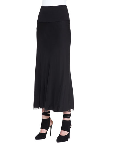 Georgette Layered Bias Skirt, Black