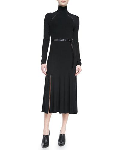 Belted Turtleneck Dress, Black