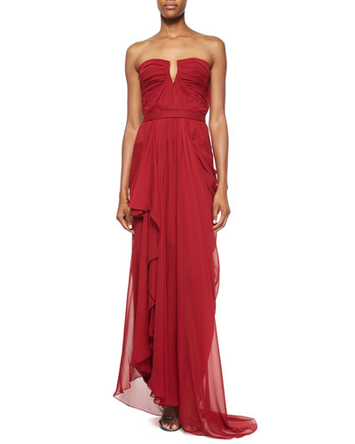 Strapless Gathered Gown, Ruby
