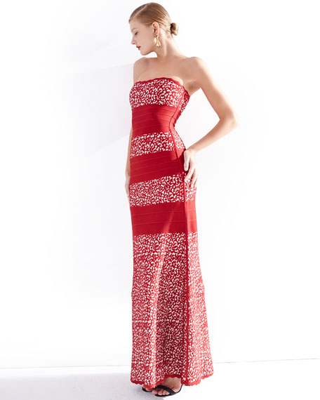 Strapless Fit-&-Flare Gown, Red Combo