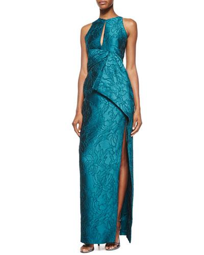 Halter-Neck Embroidered Gown, Empress Green