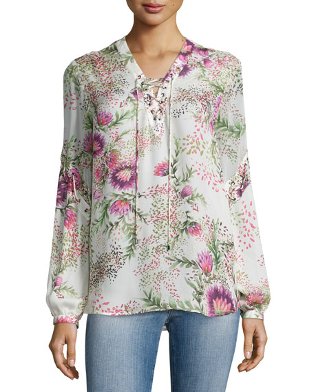 Haute Hippie Wildflower-Print Lace-Up Blouse