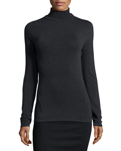 Turtleneck Sweater W/Slash Detail, Charcoal