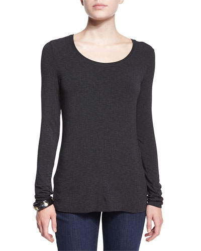 Long-Sleeve Jersey Cozy Tee, Black, Petite