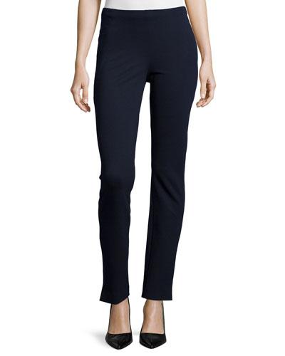 Mid-Rise Slim-Leg Ankle Pants, Midnight
