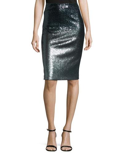 High-Waist Combo Pencil Skirt, Charcoal