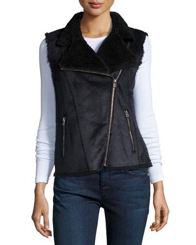 Anila Asymmetric-Zip Faux-Sheep Vest, Black