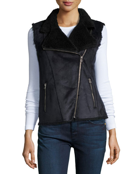 Velvet Anila Asymmetric-Zip Faux-Sheep Vest, Black