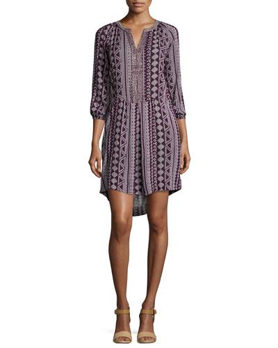 Geraldine Three-Quarter Sleeve Dress, Multi
