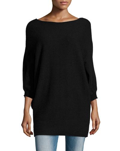 Kizzy 3/4-Sleeve Cashmere Sweater, Black