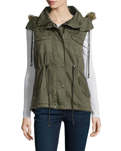 Odela Faux-Fur Trim Vest, Green