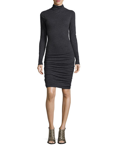 Annia Long-Sleeve Ruched Turtleneck Dress, Black