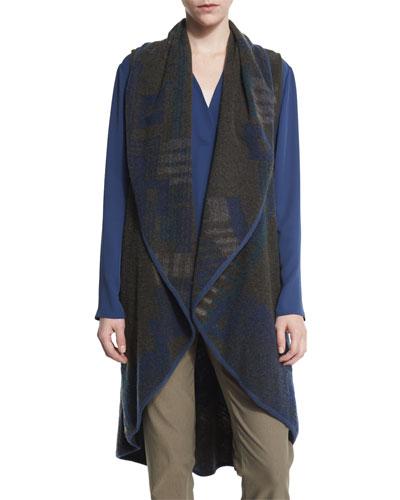 Plush Jacquard Long Vest, Petite