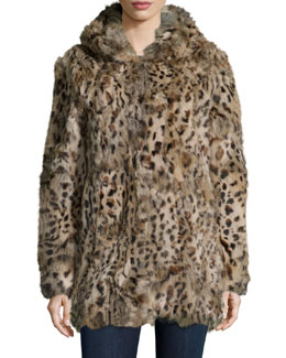 Rabbit Fur Hooded Coat, Leopard