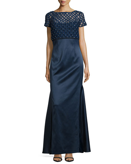 Kay Unger New York Short-Sleeve Beaded Popover Gown