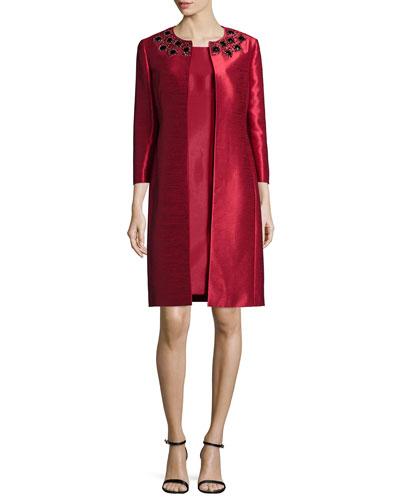 Bead-Trim Jacket & Sheath Dress Set