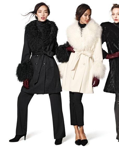 Sofia Cashmere Wool-Cashmere A-line Coat W/ Mongolian Lamb Fur