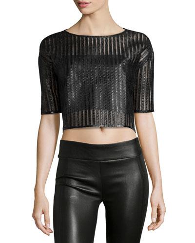 Short-Sleeve Snakeskin Crop Top, Black
