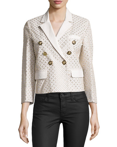 Versace Three-Quarter Sleeve Embellished Jacket, White