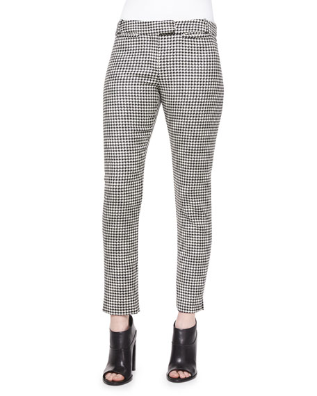 Veronica Beard Classic Houndstooth Cigarette Trousers, Black/White