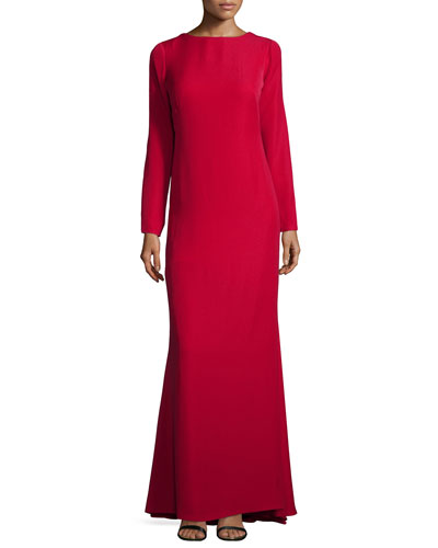 Long-Sleeve Draped-Back Gown