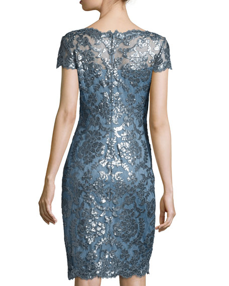 Cap-Sleeve Lace Cocktail Sheath Dress