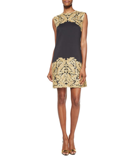 Sleeveless Lace Embellished Cocktail Dress, Gold/Black