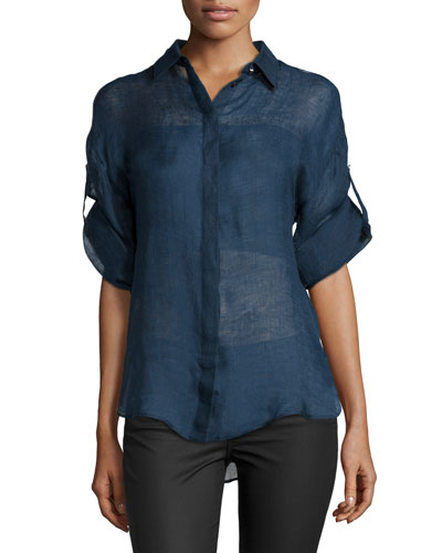 Long-Sleeve Button-Front Blouse, Blue