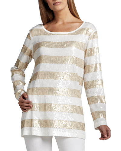 Sequin Striped Tunic, Women