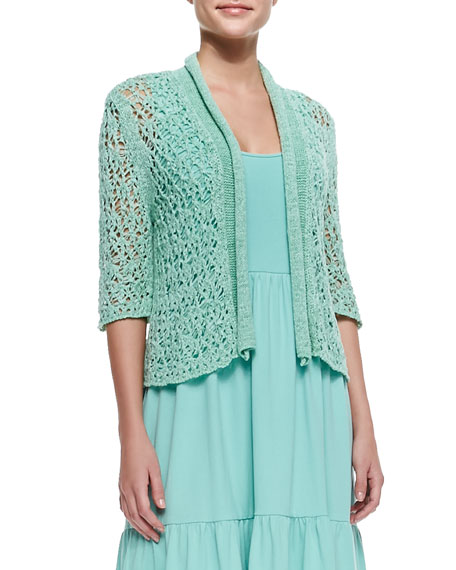 Joan Vass Cropped Tape-Yarn Cardigan, Spearmint