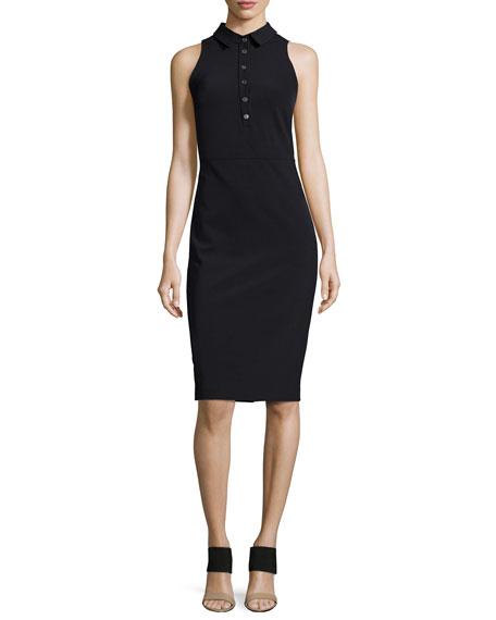 Veronica Beard Sleeveless Collared Shirtdress, Black