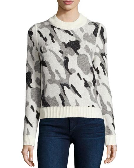 Veronica Beard Hubbard Camo Knit Sweater Neiman Marcus