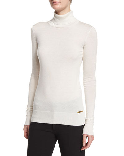 Virginia Long-Sleeve Turtleneck Top, White
