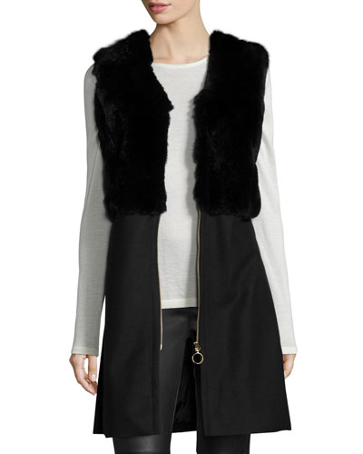 Carlie Zip-Front Long Fur Vest, Black