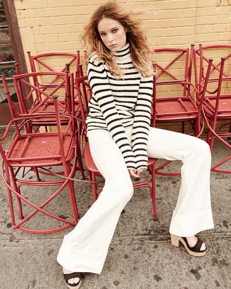 Iro Seely Striped Sweater, Ecru/Black